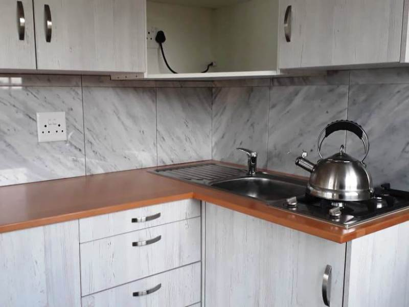 Marble Tile Back splash in kitchen coffee station